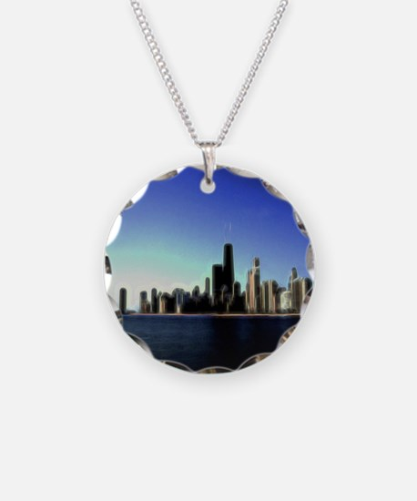 Electrifying Chicago Skyline Art Necklace