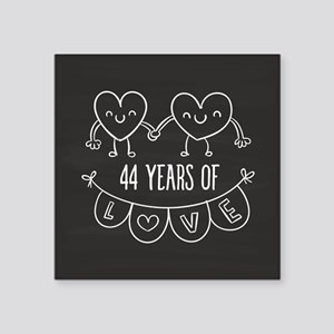 "44th Anniversary Gift Chalk Square Sticker 3"" x 3"""