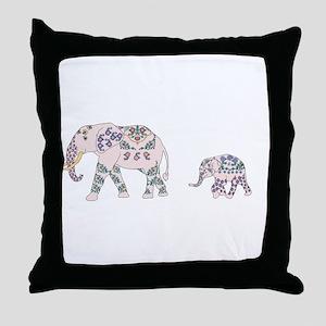 Pink Elephant Parade Throw Pillow