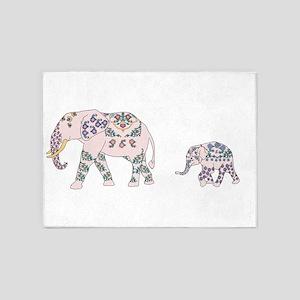 Pink Elephant Parade 5'x7'Area Rug