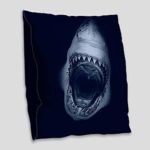 Big Shark Jaws Burlap Throw Pillow