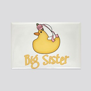 Yellow Duck Big Sister Rectangle Magnet