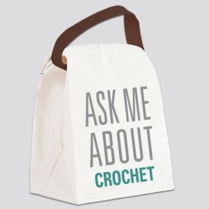 Ask Me About Crochet Canvas Lunch Bag