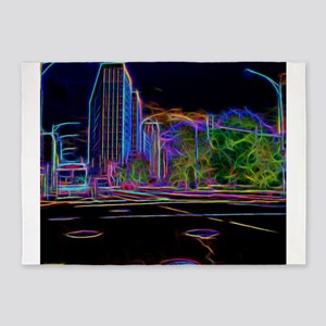 An Electrifying Neon Lit Chicago 5'x7'Area Rug