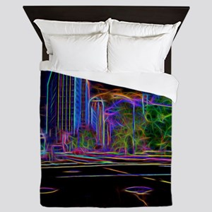 An Electrifying Neon Lit Chicago Queen Duvet