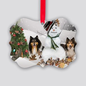 Shelties Snowman Covered With Picture Ornament