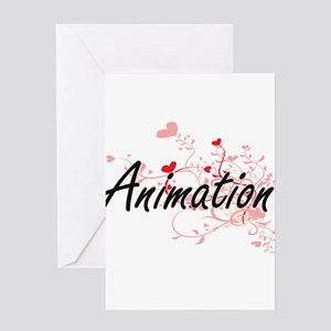 Animation Artistic Design with Hear Greeting Cards
