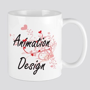 Animation Design Artistic Design with Hearts Mugs