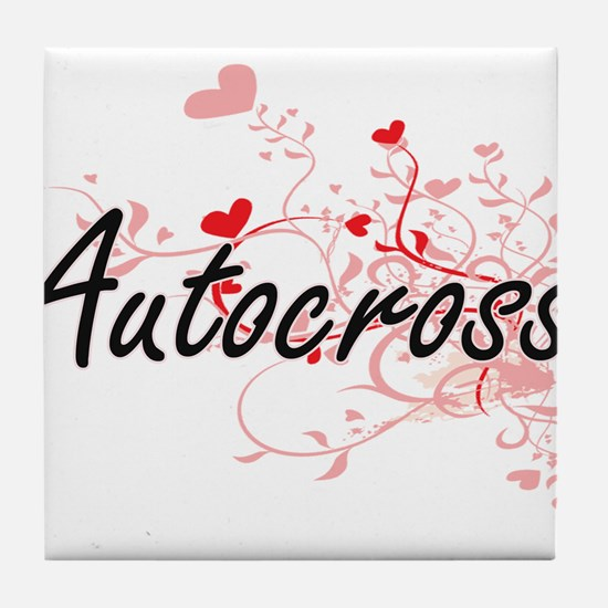 Autocross Artistic Design with Hearts Tile Coaster