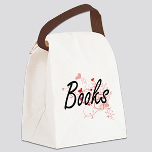 Books Artistic Design with Hearts Canvas Lunch Bag