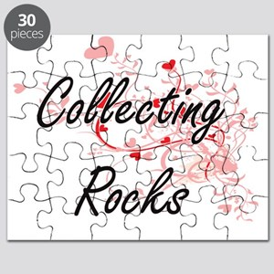 Collecting Rocks Artistic Design with Heart Puzzle