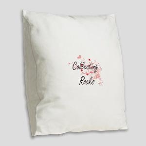 Collecting Rocks Artistic Desi Burlap Throw Pillow