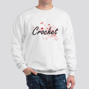 Crochet Artistic Design with Hearts Sweatshirt