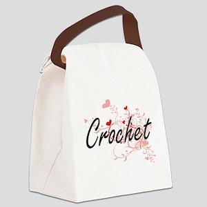 Crochet Artistic Design with Hear Canvas Lunch Bag
