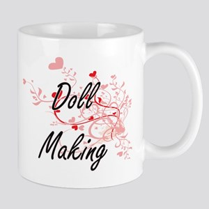 Doll Making Artistic Design with Hearts Mugs