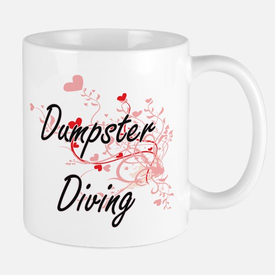 Dumpster Diving Artistic Design with Hearts Mugs