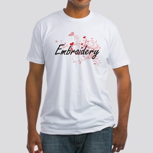 Embroidery Artistic Design with Hearts T-Shirt