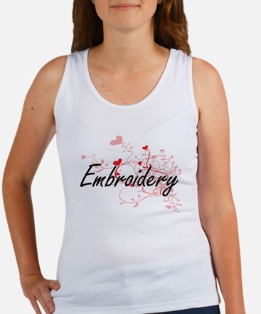 Embroidery Artistic Design with Hearts Tank Top