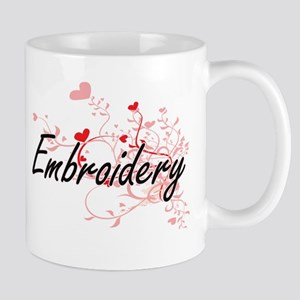 Embroidery Artistic Design with Hearts Mugs