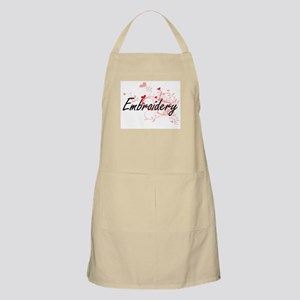Embroidery Artistic Design with Hearts Apron