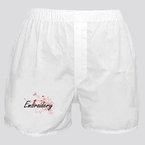 Embroidery Artistic Design with Heart Boxer Shorts