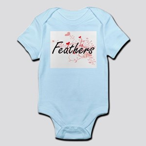 Feathers Artistic Design with Hearts Body Suit