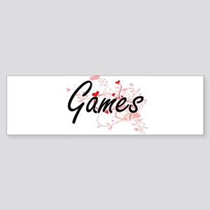 Games Artistic Design with Hearts Bumper Sticker