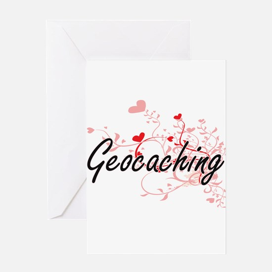 Geocaching Artistic Design with Hea Greeting Cards