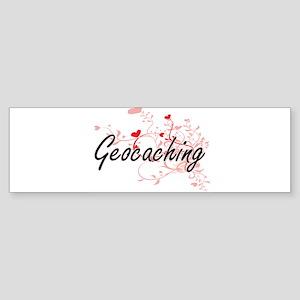 Geocaching Artistic Design with Hea Bumper Sticker