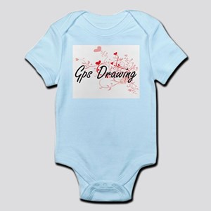 Gps Drawing Artistic Design with Hearts Body Suit