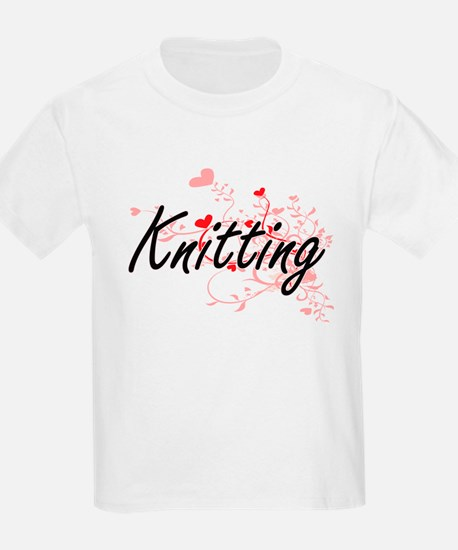Knitting Artistic Design with Hearts T-Shirt