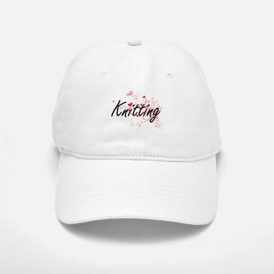 Knitting Artistic Design with Hearts Baseball Baseball Cap