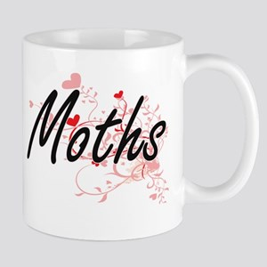Moths Artistic Design with Hearts Mugs