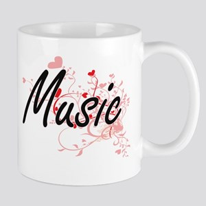 Music Artistic Design with Hearts Mugs