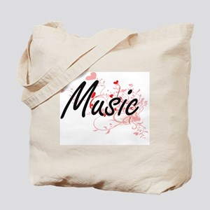 Music Artistic Design with Hearts Tote Bag