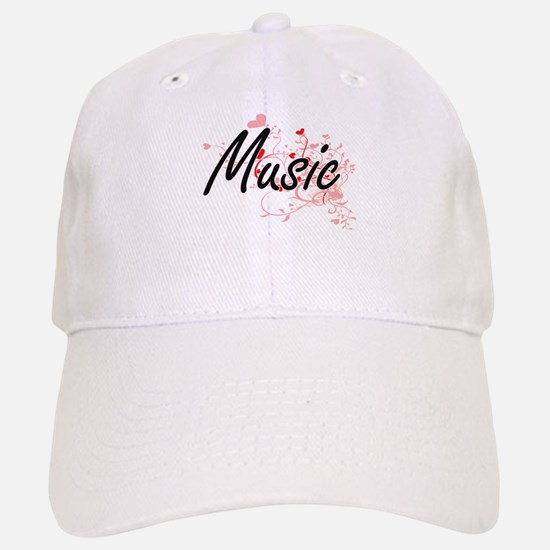 Music Artistic Design with Hearts Baseball Baseball Cap