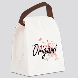 Origami Artistic Design with Hear Canvas Lunch Bag