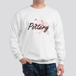 Pottery Artistic Design with Hearts Sweatshirt