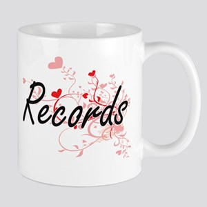 Records Artistic Design with Hearts Mugs