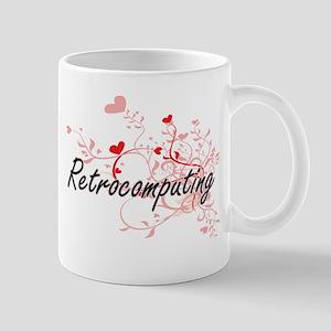 Retrocomputing Artistic Design with Hearts Mugs
