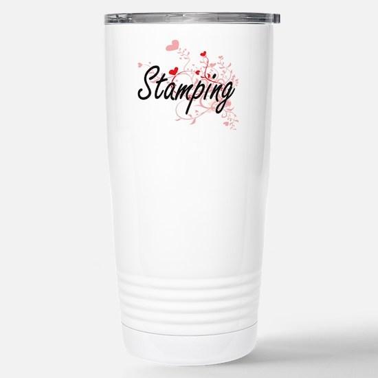 Stamping Artistic Desig Stainless Steel Travel Mug
