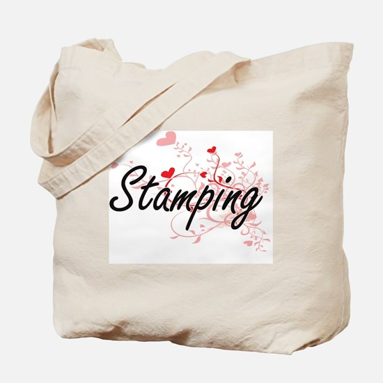 Stamping Artistic Design with Hearts Tote Bag