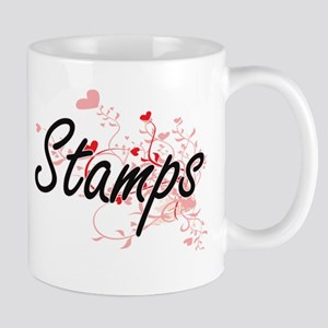 Stamps Artistic Design with Hearts Mugs