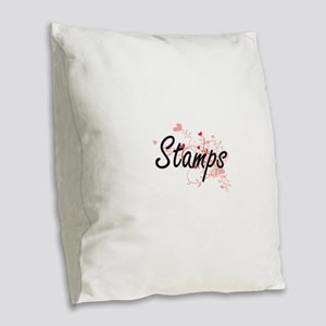 Stamps Artistic Design with He Burlap Throw Pillow