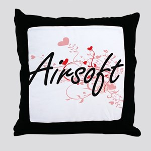 Airsoft Artistic Design with Hearts Throw Pillow