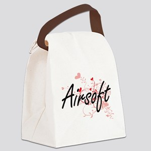 Airsoft Artistic Design with Hear Canvas Lunch Bag