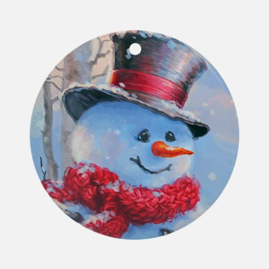 Snowman in the Woods Round Ornament