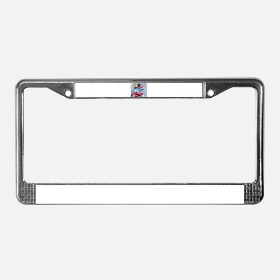 Snowman in the Woods License Plate Frame