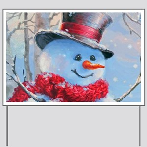 Snowman in the Woods Yard Sign