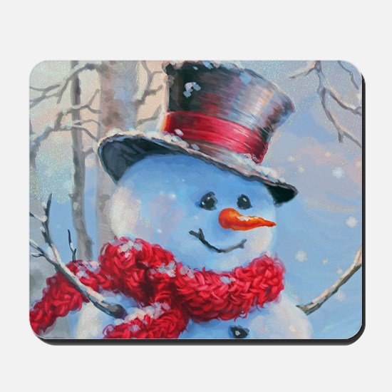 Snowman in the Woods Mousepad
